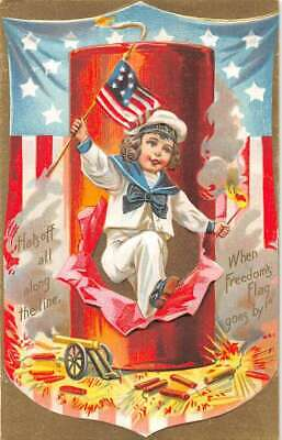 Fourth of July Little boy w- Fireworks vintage postcard DD11386