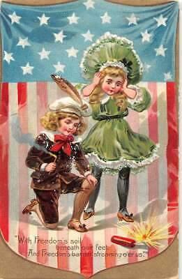 Fourth of July setting off fireworks vintage postcard DD11395