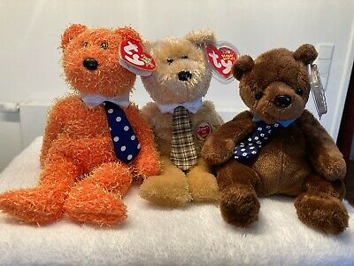 Set of Three Ty Beanie Bears Fathers Day 2003 and 2004