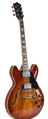 New Firefly FF338 Spalted Maple Semi-Hollow body Guitar Electric GutiarBrown)