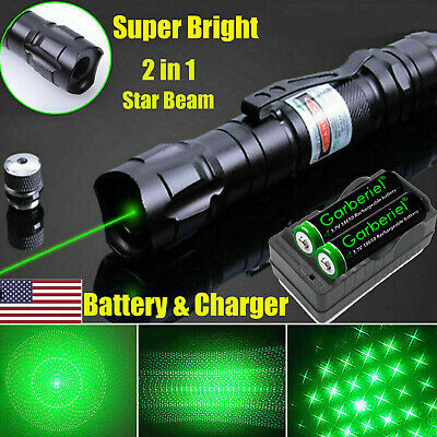 900 Miles 532nm Green Laser Pointer Star Beam Rechargeable Lazer-Battery-Charger