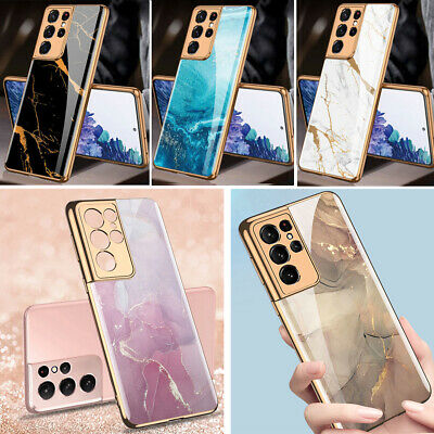 For Samsung Galaxy S21 S21Ultra S21- Case Marble Shockproof Tempered Glass Cover
