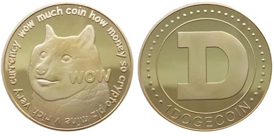1Pc Gold Dogecoin Coins New Collectors Gold Plated Doge Coin DOGE