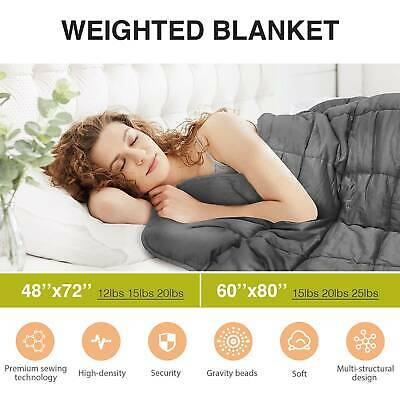 Weighted Blanket Reduce Stress Promote Deep Sleep 25lb 60X80 42x78 Cooling