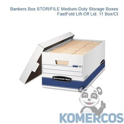 Bankers Box STORFILE Medium-Duty Storage Boxes FastFold Lift-Off Lid- 11 BoxCt