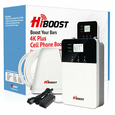 HiBoost Home 4K Plus Cell Phone Signal Booster Kit for AT-T Verizon T-Mobile