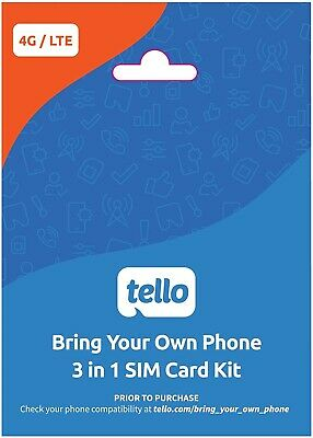 Tello SIM a T-Mobile Network - 10 FREE Tello FREE 2nd month FAST shipping