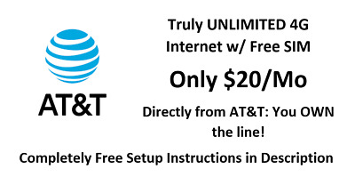 FREE 20MO AT-T UNLIMITED 4G LTE DATA PLAN FOR HOTSPOT  ROUTER- Your Own Line
