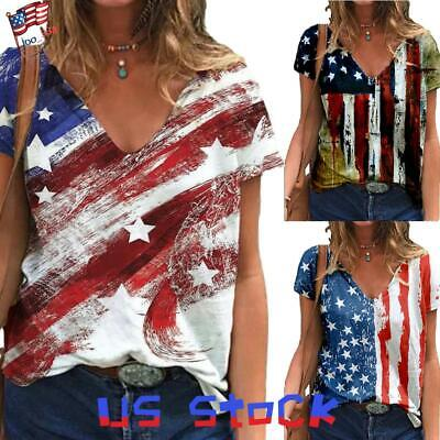 Women American Flag Print Top T-shirt V Neck Loose Blouse Casual Tee 4th of July