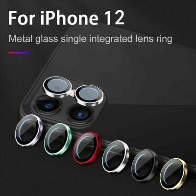 For iPhone 12 11 Pro Max Metal Ring-Tempered Glass Camera Lens Screen Protector