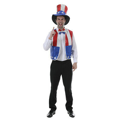 Adult American Flag Uncle Sam Costume 4th Of July Patriotic Party Fancy Dress