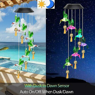 Color Changing Outdoor Solar Power Wind Chimes Hummingbird Bell LED Garden Light