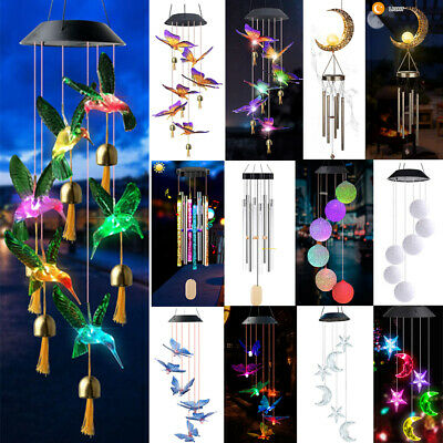 Color Changing LED Solar Wind Chimes Lights Ball Hummingbird Butterfly Garden US