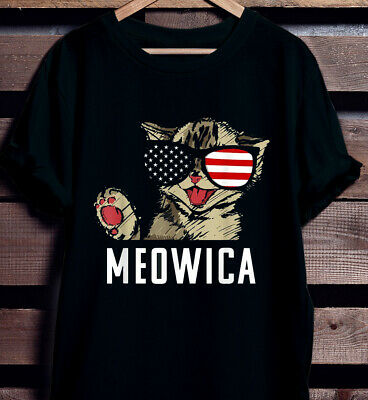 Fourth Of July Meowica Funny Cat American Unisex T shirt Cotton S-5XL Black