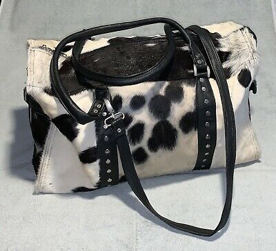 COWHIDE LEATHER DUFFLE BLACK AND WHITE WEEKEND TRAVEL BAG