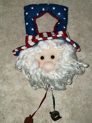 AMERICANA Welcome Patriot UNCLE SAM Plush 4th of July Wall Door Hanger w bells