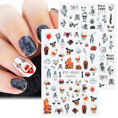 Halloween 3D Nail Stickers Skull Snake Manicure Nail Art Decal Tips Decoration
