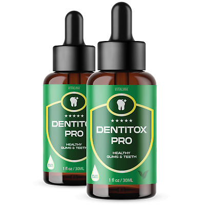 2 Pack Official Dentitox Pro for gums Gum and Teeth Liquid Drops 2 Bottles