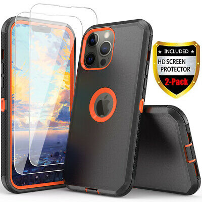 For iPhone 13 12 11 Pro Max XS Max XR Armor Case-Tempered Glass Screen Protector