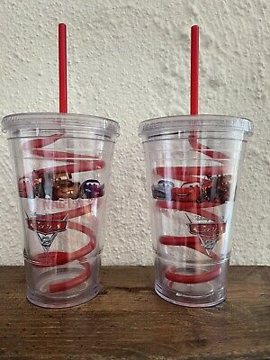 NEW Disney Pixar Cars 2 State Farm Double Wall Cup 16 Oz- Spiral Straw Set Of 2