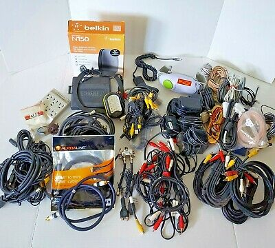 Large Junk Drawer Lot of Assorted Items Cables Cords Chargers Router and More