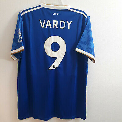ADIDAS ENGLISH PREMIER LEAGUE LEICESTER FC JAMIE VARDY BLUE JERSEY SIZE LARGE
