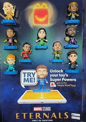 MCDONALDS 2021 MARVEL ETERNALS HAPPY MEAL TOY COMPLETE SET- READY TO SHIP