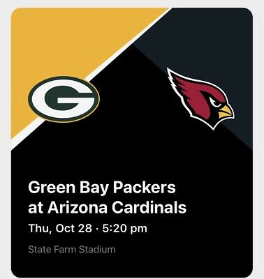Arizona Cardinals VS Green Bay Packers Lower Level with Parking Pass