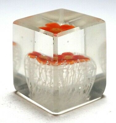 Chinese Cube Shaped Single Crown Aquarium Paperweight