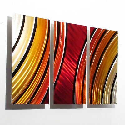 Large Metal Wall Art Panels Painting Red Orange Modern Abstract Sculpture Decor