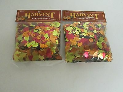 FALL HARVEST THANKSGIVING CONFETTI SPANGLES - LOT OF 2 PACKAGES