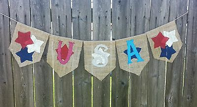 USA Burlap Banner  Memorial Day4th of July