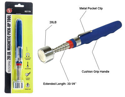 New 30 Telescoping 20lb Pick Up Tool Magnetic with Metal Clip - Stainless Steel