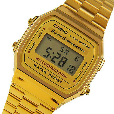 CASIO MENS GOLD TONE STAINLESS STEEL DIGITAL WATCH A168WG