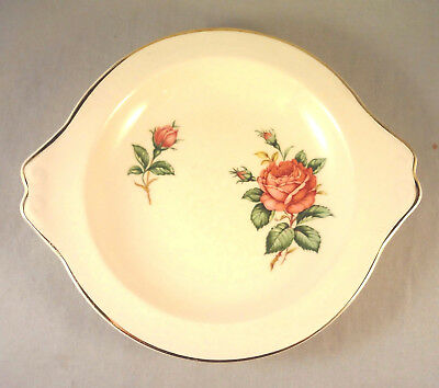 RED ROSE by PADEN CITY RELISH DISH 8 Rose - Buds on Cream