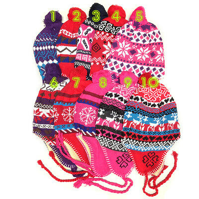 Winter Peruvian Ear Flap Ski Hat Beanie Cap Snow Flakes Womens Pick Pattern BU9