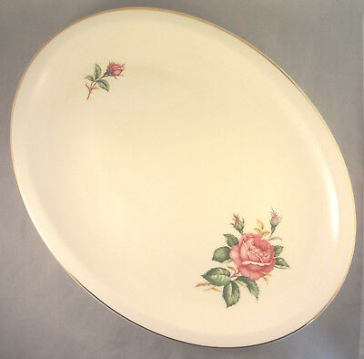 RED ROSE by PADEN CITY 14 OVAL SERVING PLATTER Roses - Buds on Cream