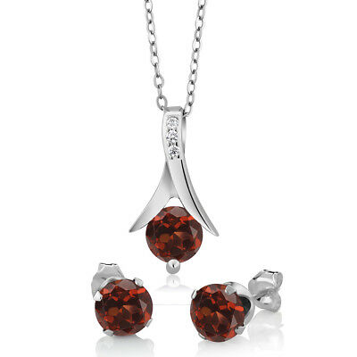 Sterling Silver Red Garnet Earring - Pendant Set 2-25 cttw 18 Chain