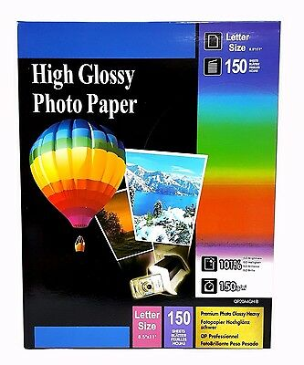 Premium Glossy Inkjet Photo Paper 8-5x11 Letter Size 150 sheets Weight 150gsm