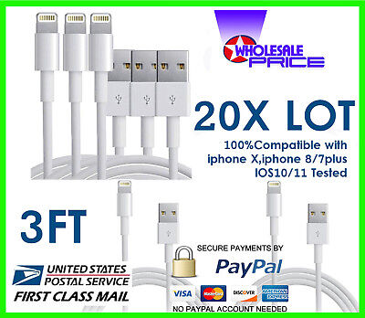 20X Lot 3FT USB Data Sync Charging Cable Cord Compaible With iPhone 56S7 PLUS
