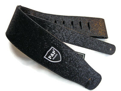 Guitar Strap Leather Sparkle Pu Adjustable Acoustic Electric Bass Black