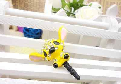 Yellow Stitch Rhinestone Anti Dust Plug Cover Charm for IphoneAndroid 3-5mm