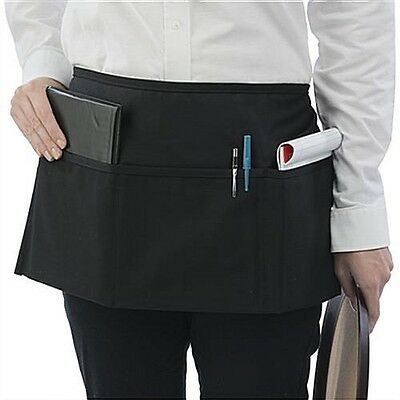 1 new black server apron 3 pocket waist waiter waitress tip apron restaurant