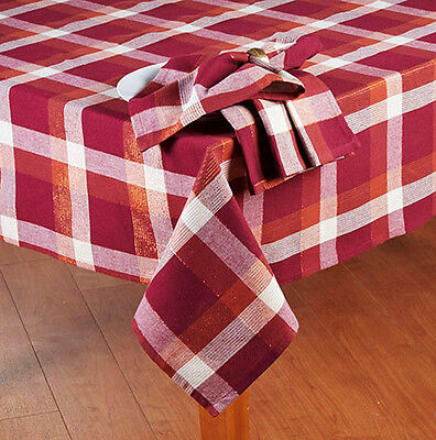 Burgundy Plaid Thanksgiving - Fall Decor Tablecloth Shimmer Accents 70 ROUND