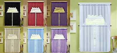 3PC K66 SOLID VOILE SHEER KITCHEN WINDOW CURTAIN 2 TIERS - 1 SWAG VALANCE SET
