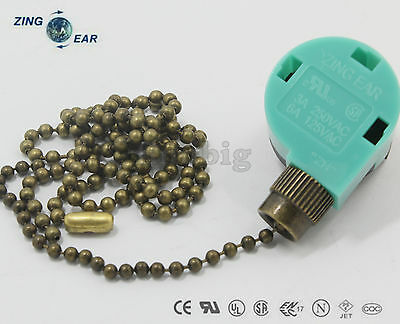 Zing Ear ZE-268S6 - ZE-208S6 Pull Chain Switch With 2 Ft Antique Brass Chain