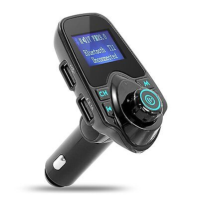 Deluxe Bluetooth FM Transmitter Car Radio Adapter Kit iPhone Android TF Slot