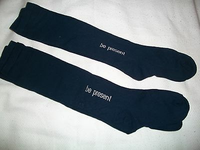 3 Pair Blue Maggies Organic Cotton Crew Socks With Lettering Be Present- USA New