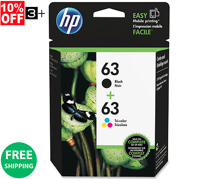 New Genuine HP 63 Combo Pack 1-Black - 1-Color Ink Cartridges HP63  L0R46AN