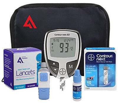 NEW Bayer Contour NEXT EZ Blood Glucose Monitoring Full Kit DIABETIC Test Meter